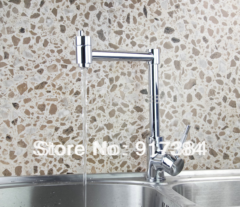 Swivel Spout Dual Handles Kitchen Sink Faucet With Pure Water Tap Chrome New JN92312