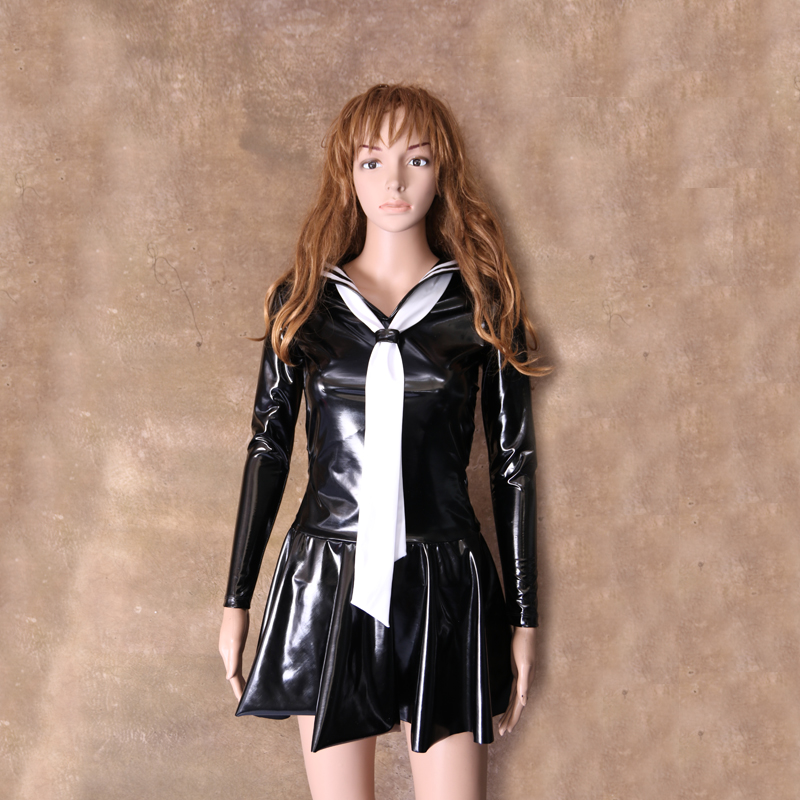 PVC Faux Leather Pleated Dress Cosplay Youth Student Sexy Lingerie Japanese Uniform Tie Maid Sailor Nightclub