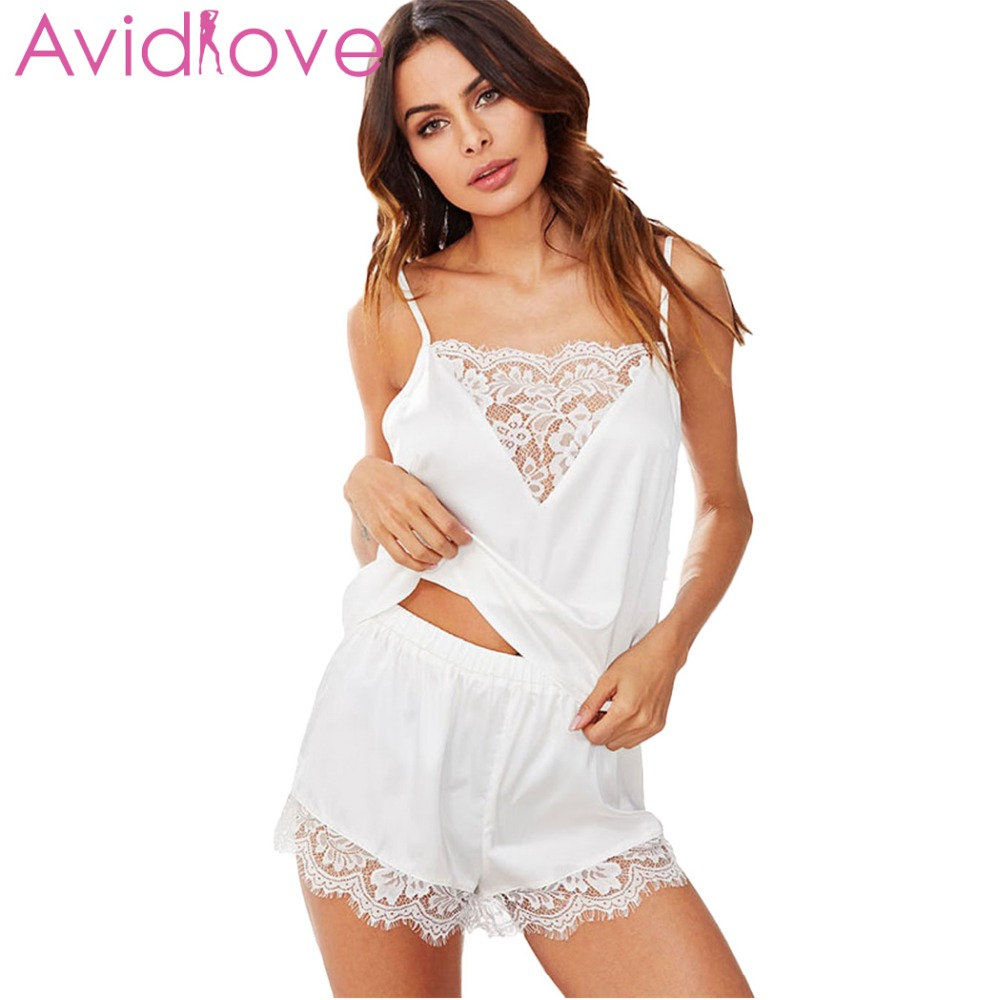 Avidlove Women's Pajama Sleepwear Home Wear Eyelash New Patchwork Sexy Satin Lingerie Set Lace Women Cami Nightwear pyjama femme