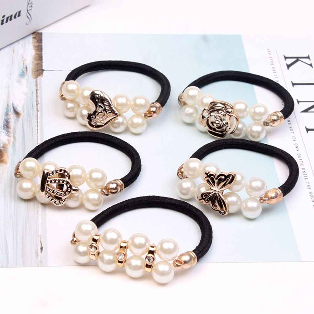 Women Hair Accessories Pearls Beads Headbands Ponytail Holder Girls Scrunchies Vintage Elastic Hair Bands Hair Styling Tools