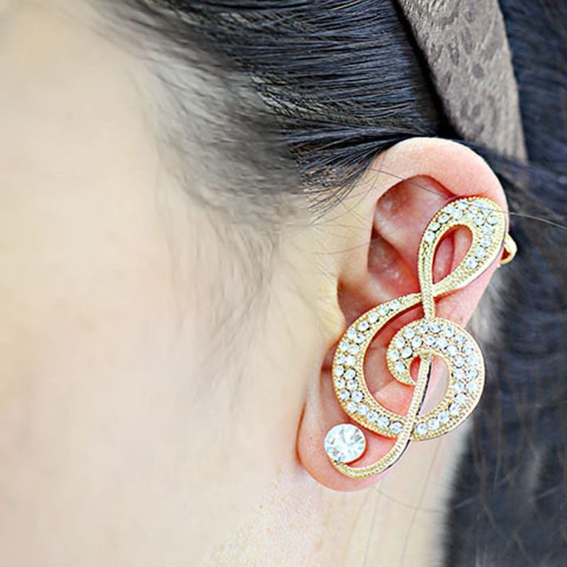LS 1 Piece Surgical Steel Gold Crystal Ladies Chic Fashion Crystal Rhinestone Musical Notation Ear Cuff Clip Earring New