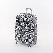 Wholesale!20 inch female pc hardside trolley luggage bag on universal wheels,fashion zebra printed travel luggage for women