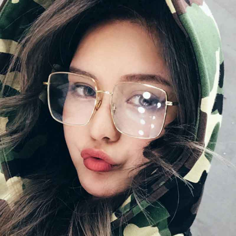 New Fashion Square Optics Glasses Frame Men Women Metal Big Spectacles Frames Prescription Eyeglasses