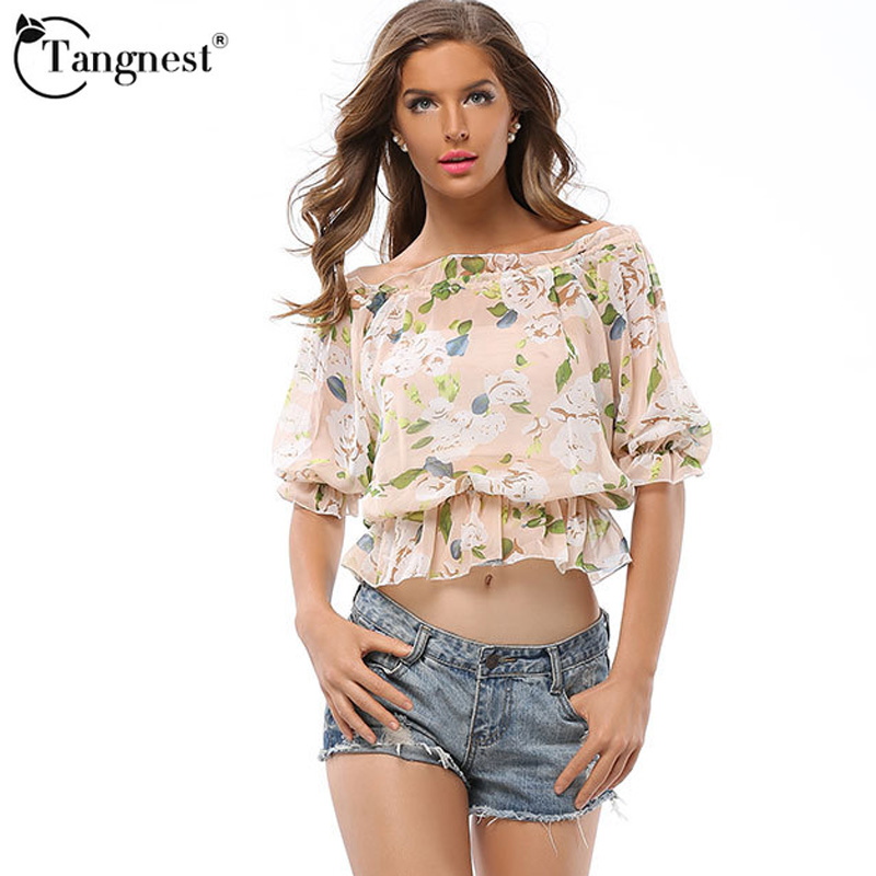 Tangnest mujeres moda 2017 explosión de impresión cintura elástica hombro palabr