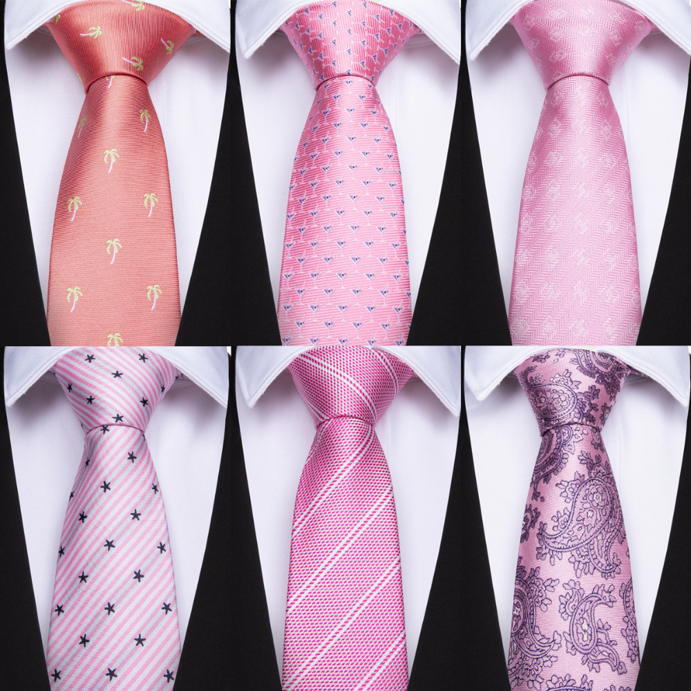 Pink Men's Necktie Dots Pattern Ties For Men Fashion Tie Polyester Silk Tie Hankerchief Clothing Accessories Hombre Corbata