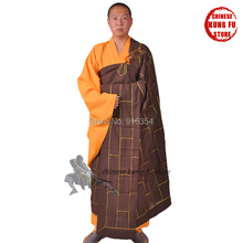 Monk Gown Buddhist Darkish Brown Zuyi Kesa Cassock with Haiqing Gown Zen Buddhism Meditation Go well with Shaolin Kung fu Uniforms
