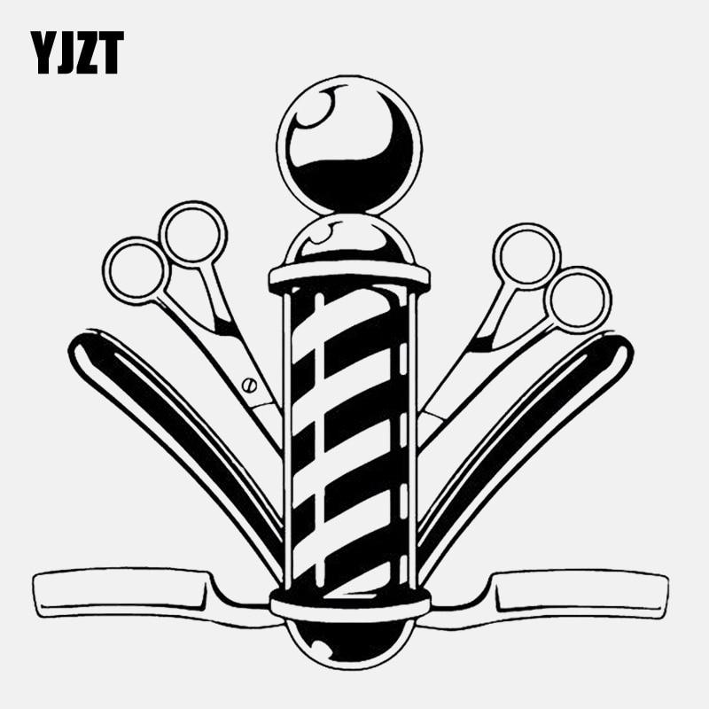 YJZT 14.8CM*13.9CM Barber Shop Comb Scissor Haircut Vinyl High Quality Car Sticker C22-0079