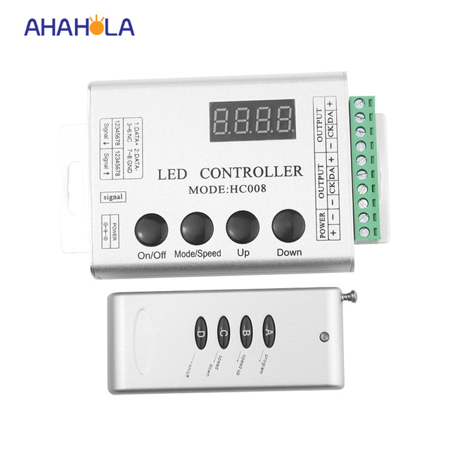 HC008 programmable rgb led pixel controller,dc 12v,control 2048 pixel,133 effect modes,ws2811controller