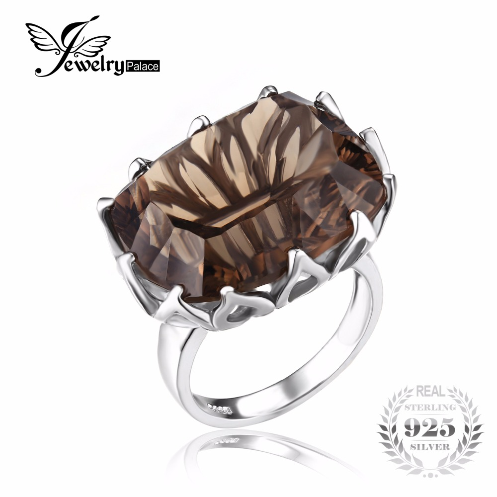 jewelrypalace huge unique concave 20ct smoky quartzs ring for women solid 925 sterling silver jewelry for