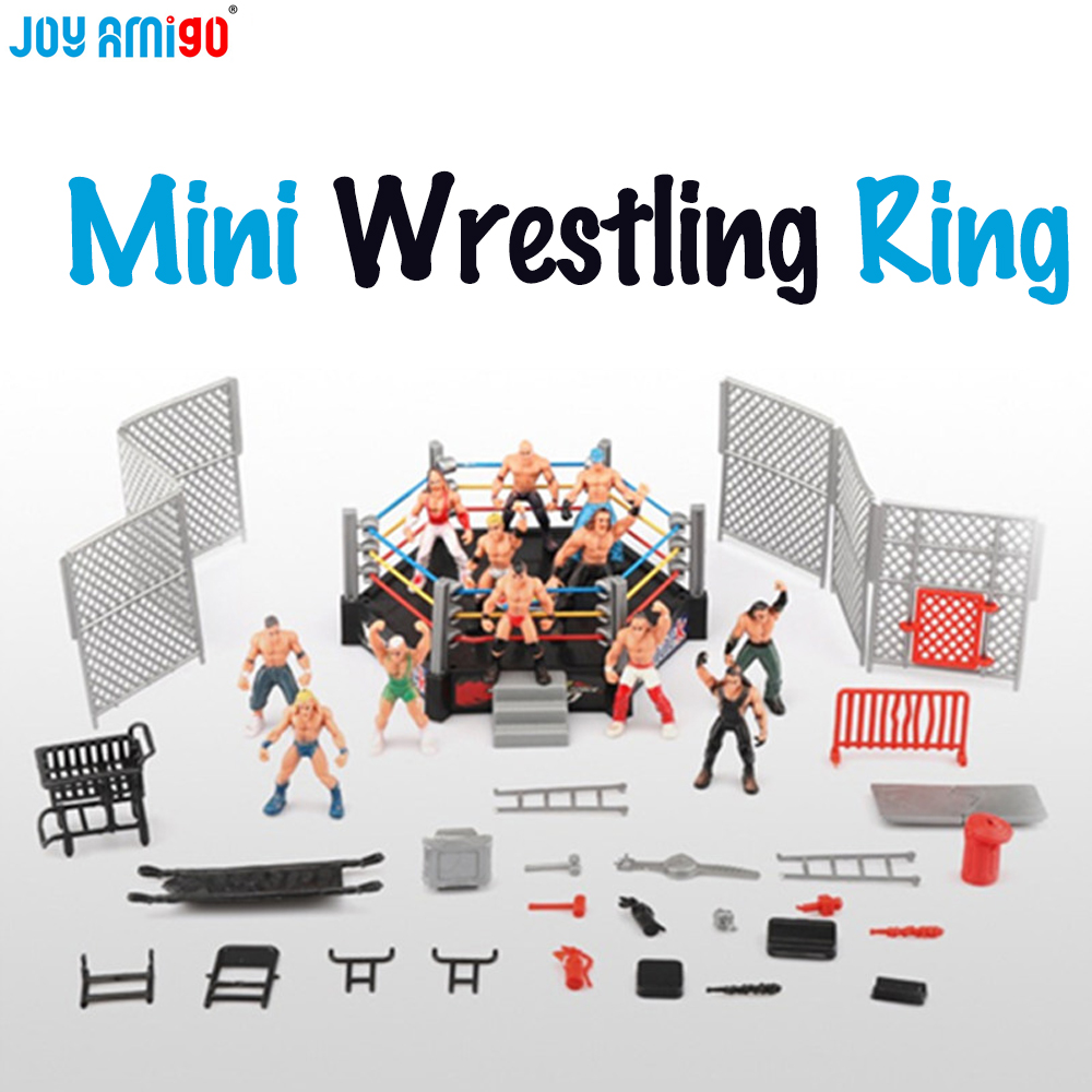 Mini Wrestling Ring Battle Pack-Play set with Action Figures & Accessories -oys For Kids Boys Toys -12 players 12pcs set children kids toys gift mini figures toys little pet animal cat dog lps action figures