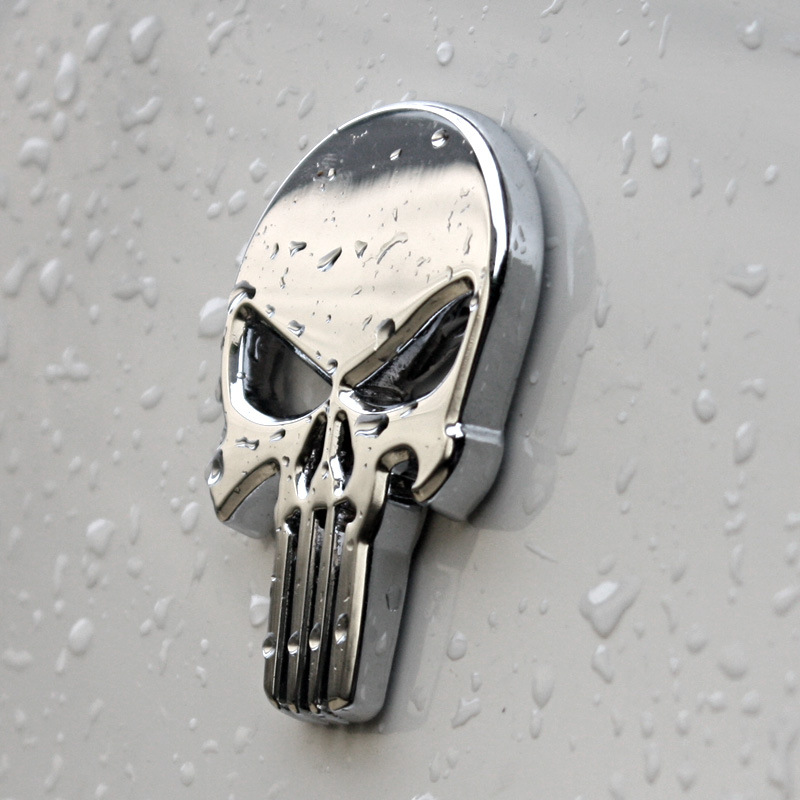 Image 2 - Metal Skull Punisher Skull Chrome Car Emblem Badge Logo Sticker-in Car Stickers from Automobiles & Motorcycles