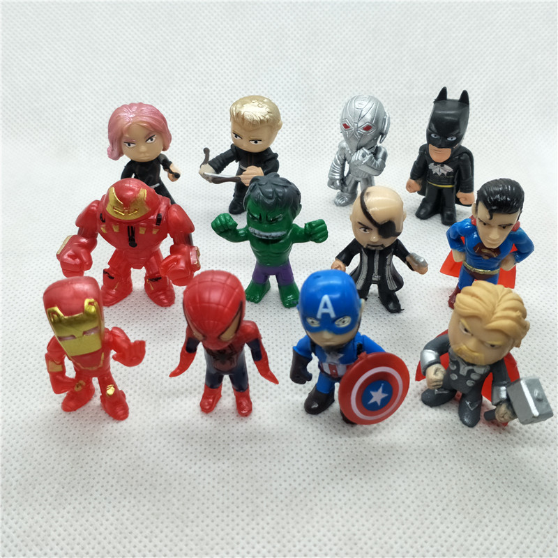 12pcs/lot PVC The Avengers Superhero Q Version Iron Man Thor Hulk Captain America Spiderman Action Figure Model Toy Doll