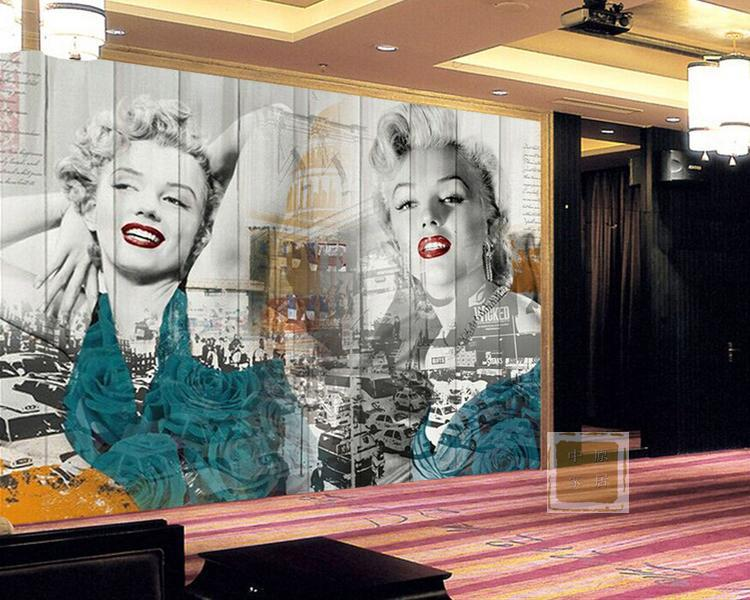 European <font><b>figure</b></font> <font><b>sexy</b></font> Marilyn Monroe <font><b>3D</b></font> wall photo mural living room and bedroom retro vintage wallpaper image