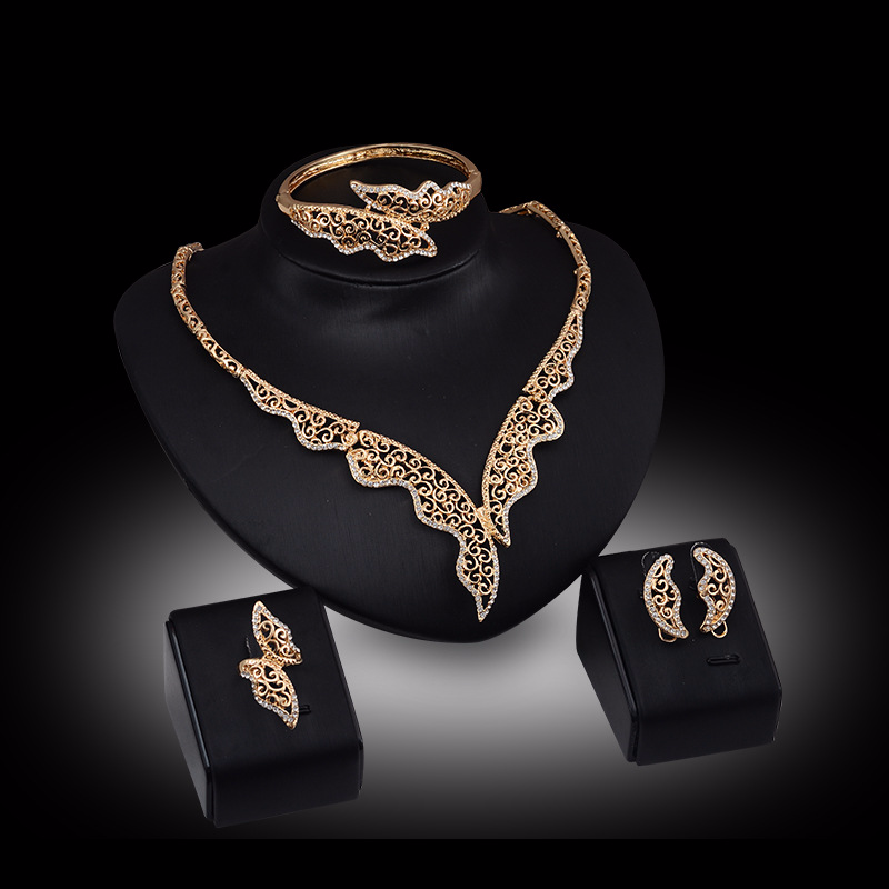 Fashion Crystal Necklace Bracelet Earrings Ring Bridal Jewelry Sets Dubai Gold Jewelry Sets for Women Gold Jewelry SetFashion Crystal Necklace Bracelet Earrings Ring Bridal Jewelry Sets Dubai Gold Jewelry Sets for Women Gold Jewelry Set