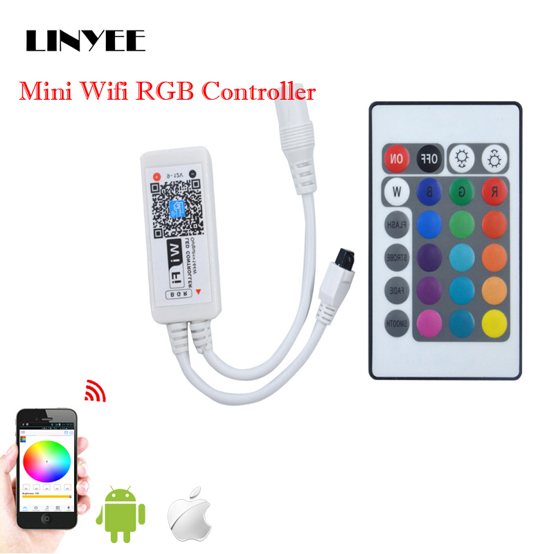 RGB Lights Controller,24-Key Mini Wireless Remote Controller Built-in Cell Battery for Globe LED Tape Strip Light