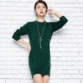 Новые Прибыл Дамы набор глава половина кашемир пуловеры О шеи с длинным рукавом сторона открыта Сплит юбка свитер для женщин платье мода