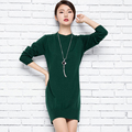 New Arrived Ladies set head half cashmere pullovers O neck long sleeve side open Split skirt sweater for women dress Fashion