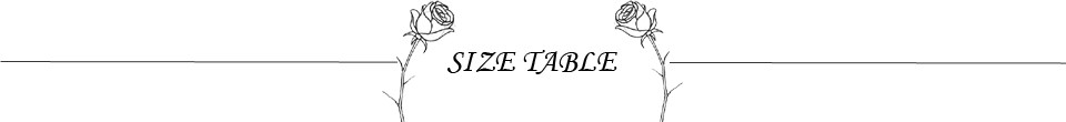 SIZE TABLE2