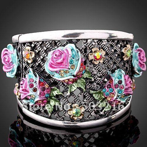 Zinc Alloy Rhodium Plated Crystal Women Jewelry Wholesale Fashion Enamel Pink Flower Bangle & Bracelets Free Shipping