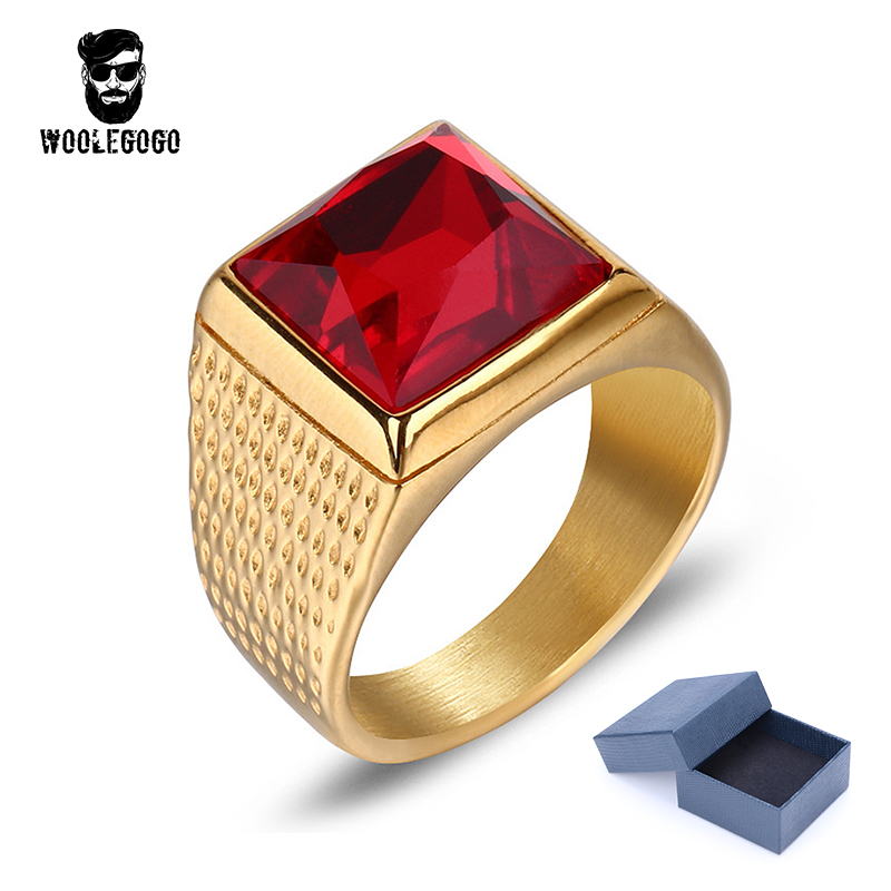 Buy man gold ring red stone and free shipping on AliExpress