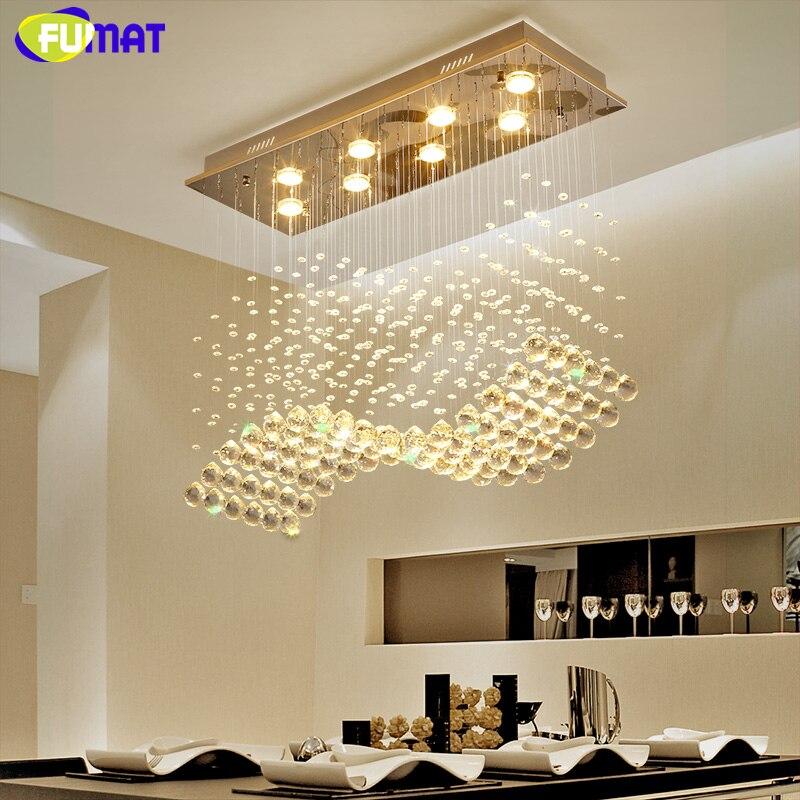Fumat k9 crystal chandeliers led gu10 chrome finished wave light modern art decor suspension - Kristallleuchter modern ...
