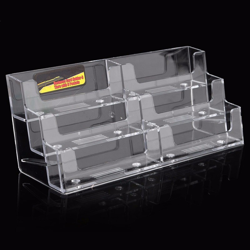 Best Promotion Acrylic Plastic 6 Pockets Desktop Business Card Holder Display Stand Desk Shelf Fit For Office School Accessories-in Card Holder & Note ...