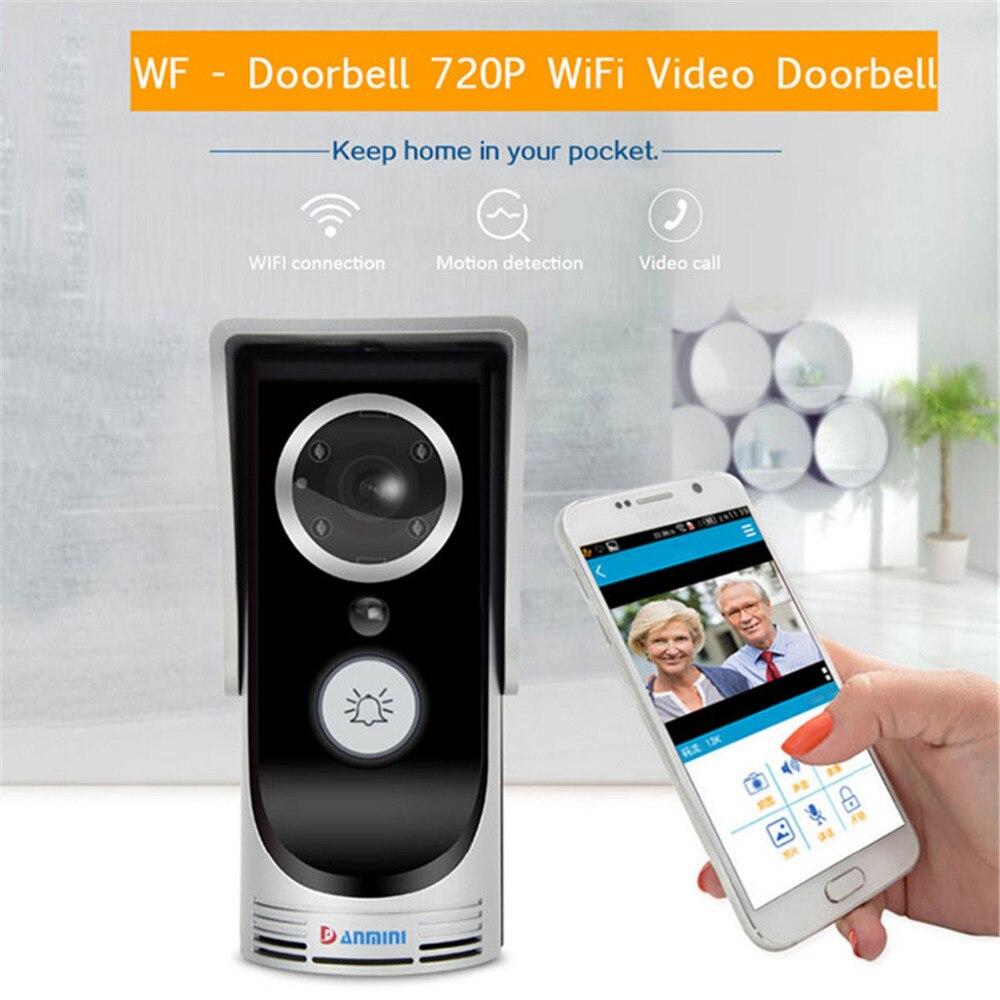Interphone de porte IP sonnette avec HD 720P caméra vidéo téléphone WIFI porte cloche Vision nocturne IR alarme de détection de mouvement pour IOS Android