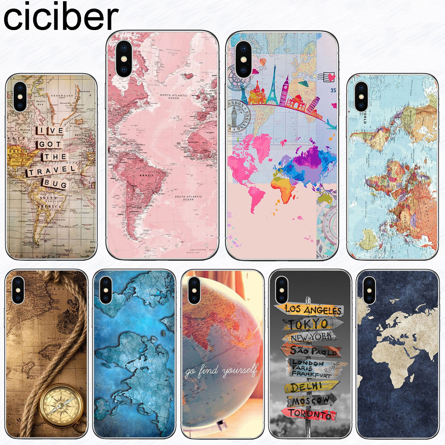 Image 1 - ciciber World Map Travel Phone Cases for Iphone 11 Pro XR XS MAX X Case for Iphone 7 8 6 6S Plus 5S SE Silicone Cover Funda Capa-in Fitted Cases from Cellphones & Telecommunications