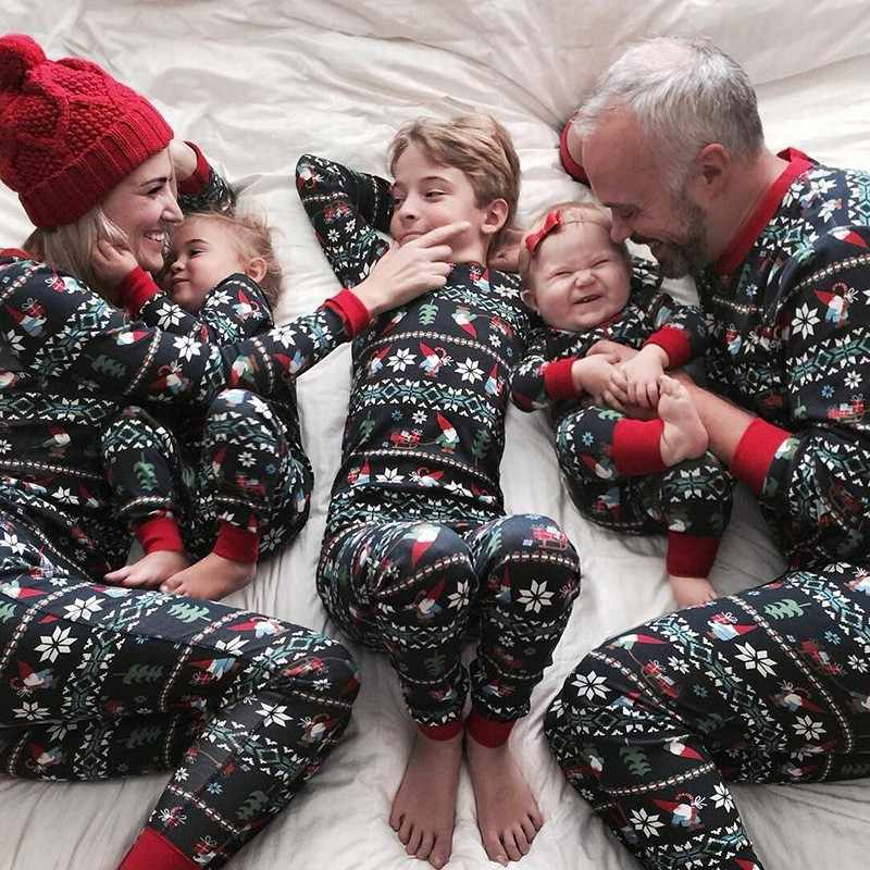 Christmas Printed Pajamas Family Matching Clothes Mom Dad Children Sleepwear Outfit Set Parent-Child Loungewear