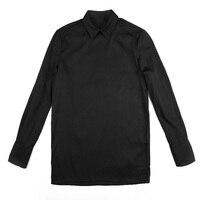 Простой пуловер рубашка личности прилив Для мужчин рубашка с длинным рукавом черный тонкий