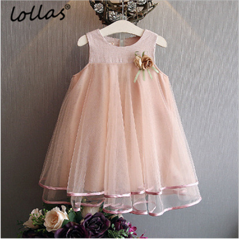 Lollas Summer Girls Dress Fashion Brand Princess Dress Sleeveless Appliques Floral Design For Girls Clothes Party Dress ...