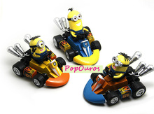 Pop Anime Despicable Me 2 Minions Kart PULL BACK Cars  Action Figures PVC Minion Toys With Cars 3pcs/lot