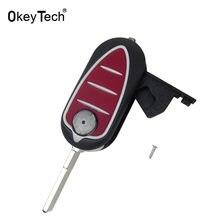 Okeytech dobrável flip 3 botão do carro chave do escudo fob para alfa romeo mito giulietta 159 gta substituição remoto carro chave capa caso r