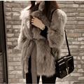 S-2XL Women Medium Long Faux Fur Jacket With Belt Elegant Slim Faux Fur Coat White fur Coats gilet fourrure casaco de pele