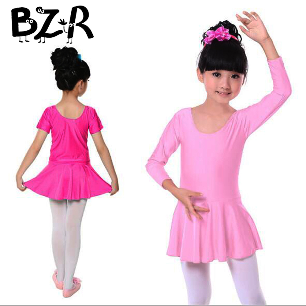 Bazzery 90cm - 160cm Girls  Children Spring Summer Shiny Spandex Short Sleeve Dance Dress Kids Gymnastics Ballet Tutu Dress