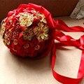 Китайские головной убор золотой красный брошь свадебные букеты рамо novia букет флер mariage bruidsboeket букет sposa cristallo