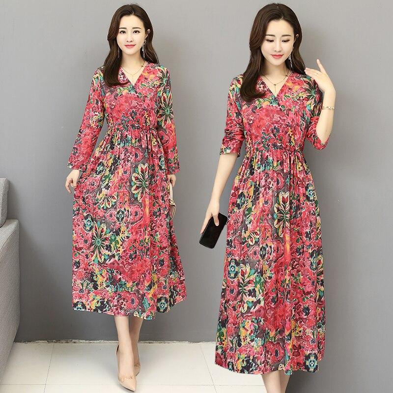 2019 robe précipitée grande taille Zanzea livraison gratuite nouveau printemps vêtement 2009 littérature et Art rétro lin imprimé col en V robe