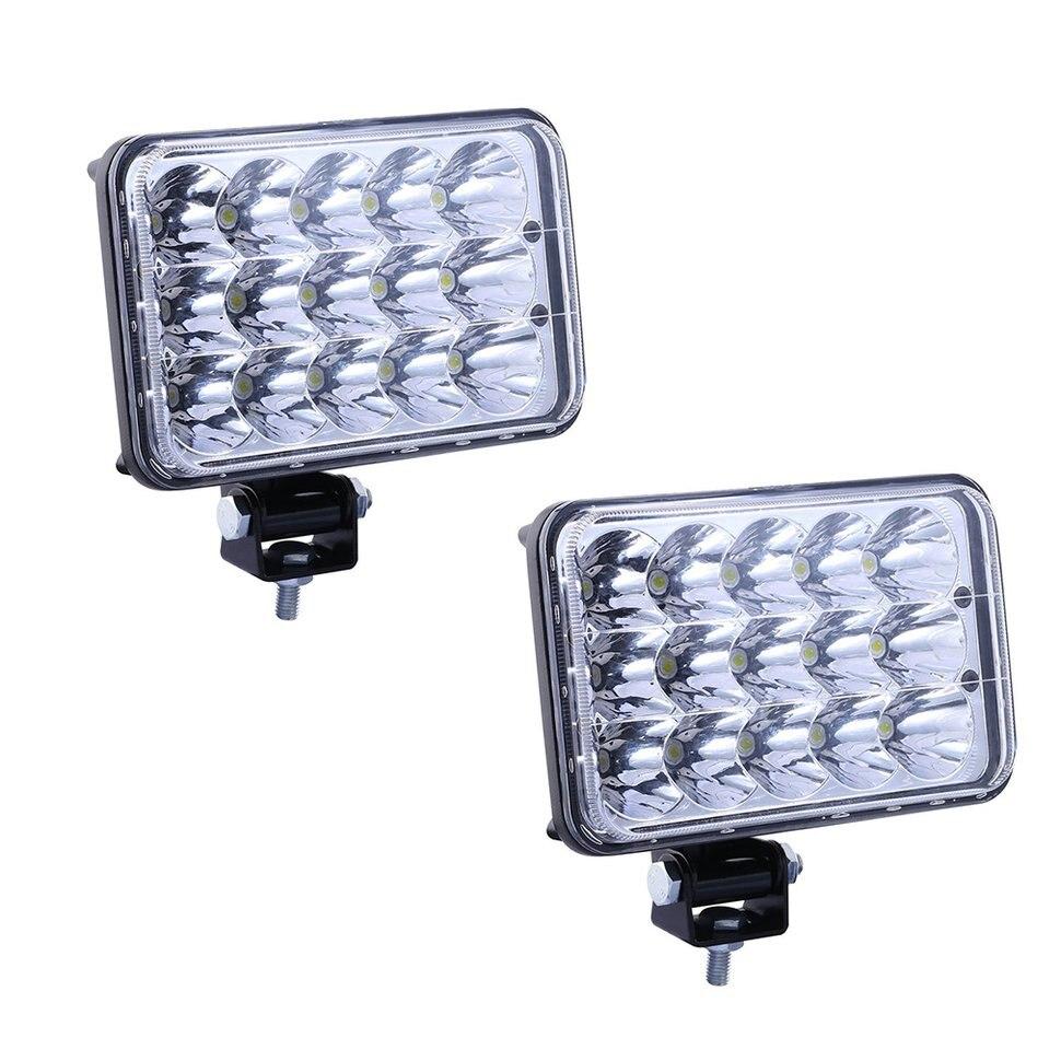 1 Pair Universal 15 LEDs Car Headlights Brightness Clear Sealed Beam Headlamp Vehicle Energy Saving Light Bulb Replacement H4666