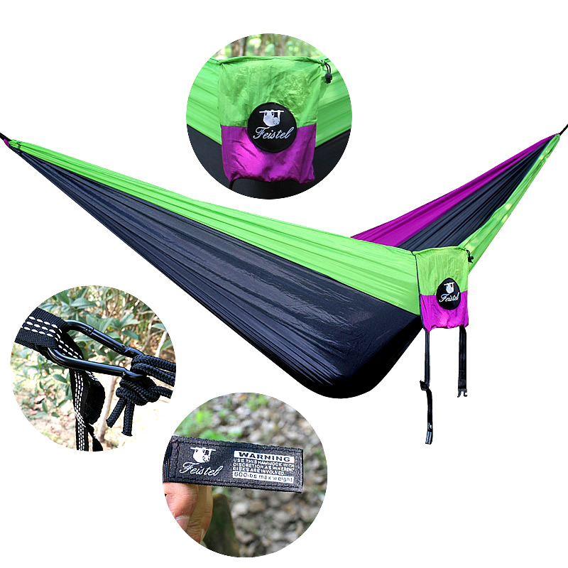 Camping Beach Yard. Travel Double Camping Hammock Nylon Portable Hammock Best Parachute Double Hammock For Backpacking