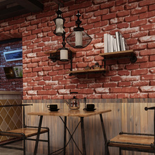 3 D Brick Wall Paper Roll Grey Red Vinyl PVC Vintage Stone Wallpaper for Office Store Walls Papel Pintado papel de parede tijolo