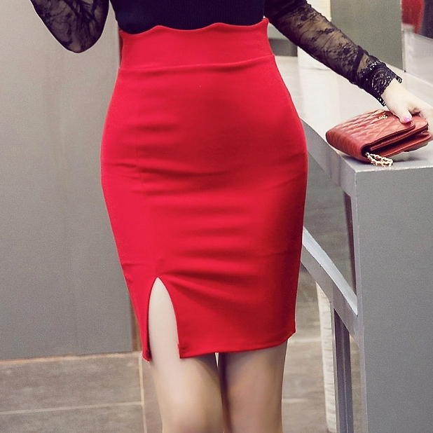 Red Short Pencil Skirt - Dress Ala