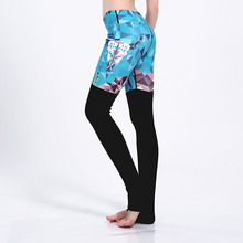 Brand Harajuku Digital Print Leggings Blue Black Patchwork Sporting Leggins For Women Fitness Workout Plus Size Casual Clothes
