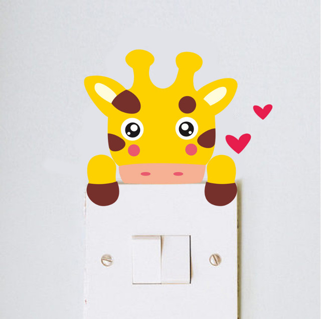 DIY cute funny giraffe monkey cat lion bear zebra home decal switch ...