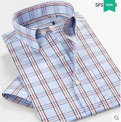Nuevo estilo del verano 2015 camisa masculina Blusas no planchar 100% de algodón hombres de manga corta camisas a cuadros de gran tamaño