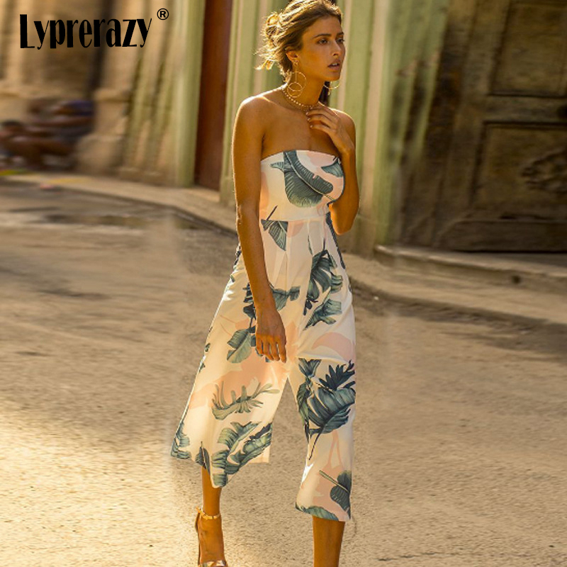 Lyprerazy Green Leaf Printed Summer Beach Rompers Backless Women Jumpsuits Sexy Slash Neck Loose Pants Vintage Chiffon Playsuits