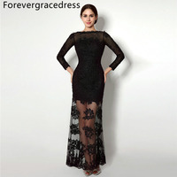 Forevergracedress Black Long Sleeves Evening Dress Sheath Lace Applique Backless Handmade Formal Party Gown Plus Size