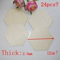 24pcs/lot 2.5mm Cutout Unfinished wood hexagon crafts DIY handcraft ornaments 12cm 20184121