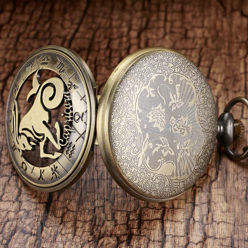 Us 314 37 Offretro Quarz Taschenuhr Halskette Steinbock Tierkreissternbild Astrologie Kette Für Männer Frauen Geschenk In Taschenuhren Aus Uhren