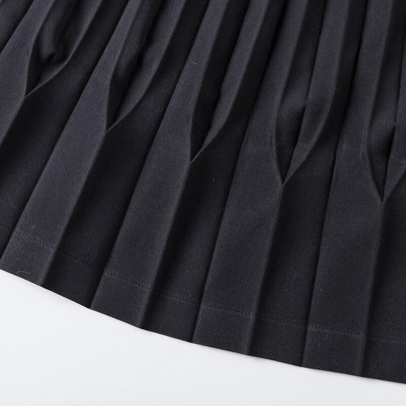 Solide Femelle Noir Ligne Libèrent Printemps Taille Irrégulière Femmes De Couleur Plissée Une Le Gros Minceur Haute Nouveau Et D'été Jupe Bateau qxPawRz
