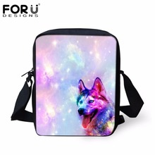FORUDESIGNS Galaxy Pattern Women Casual Cross Body Bags Cute Animal 3D Husky Printed Female Mini Handbags Men Satchel Bolsa 2017